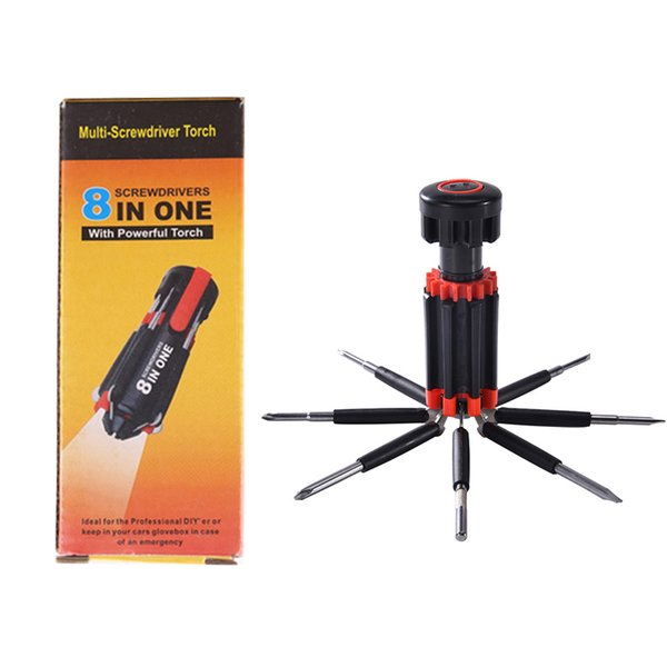 Multi-Screwdriver Torch 8 IN 1 Screwdrivers with 6 LED Powerful Torch Tools Light up Flashlight Screw Driver Home Repair Tool Set