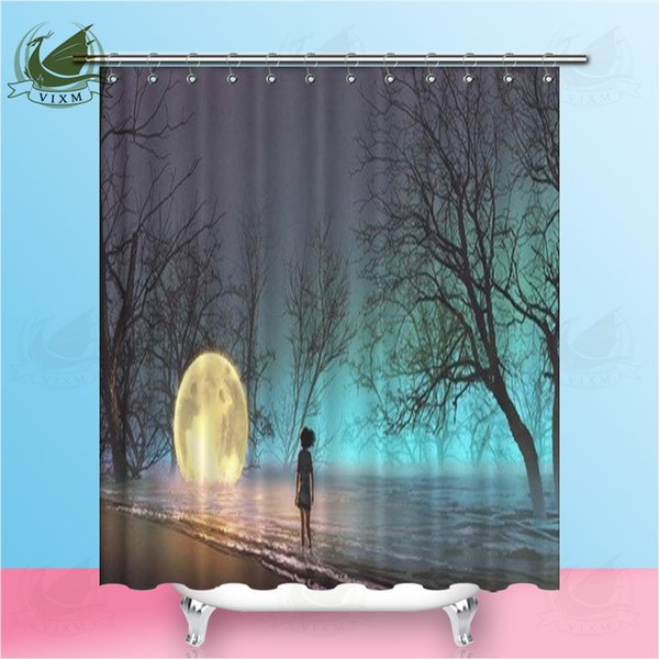 Vixm Woman Looking At Lake Art Style Illustration Painted Fallen Moon Shower Curtains Polyester Fabric Curtains For Home Decor