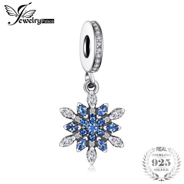 Jewelrypalace 925 Sterling Silver Froast Fiore creato blu Nano Ciondola perline Charms Fit Bracciali Gioielli di moda per le donne