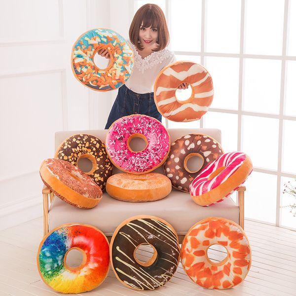 Funny 3D Creative Cute Donut Pillows Doughnut shaped Ring Plush Toys Colorful Donut Pizza Chair Sofa Seat Cushion almofada 40*40*8cm
