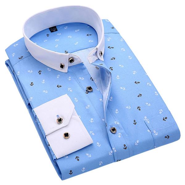 Nuevos hombres de primavera camisas casuales de manga larga de la marca impresa botón-up formal de negocios lunares florales camisa de vestir de hombres