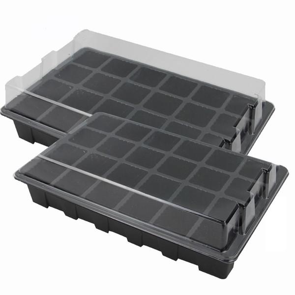 24 Cells Hole Plant Seed Tray Plastic Nursery Tray with Lid Garden Plant Germination Kit Grow Box Seeding Nursery Pot Greenhouse 4Set