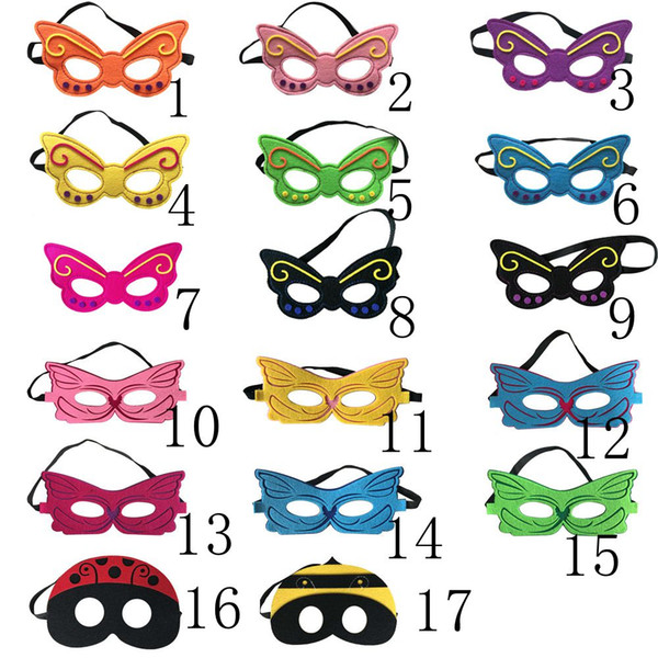 Wholesale Fast Ship Halloween Gifts Kids Superman Mask Butterfly Bee Design Kids Party Mask Cosplay Costume Mask mix 17colors 9*18cm HD4