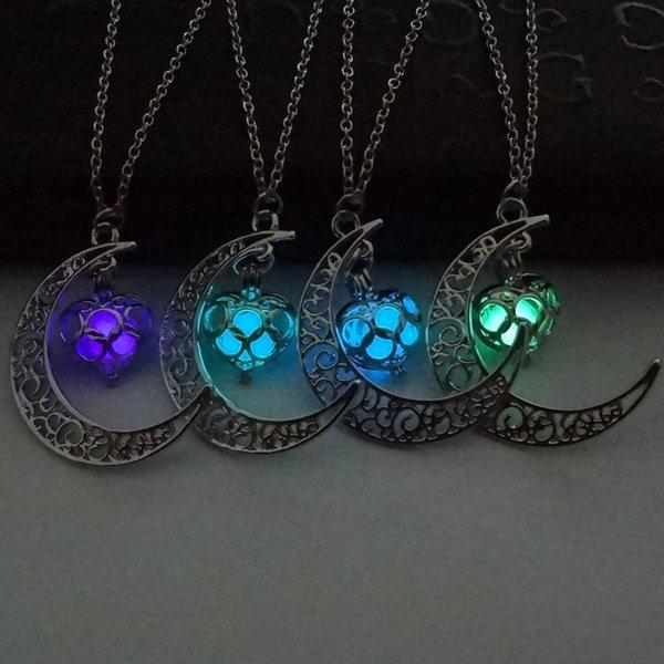 Эфирное масло диффузор ожерелье Луна сердце ожерелья Noctilucence светятся в темноте кулон медальоны цепи ювелирные изделия для женщин женщин