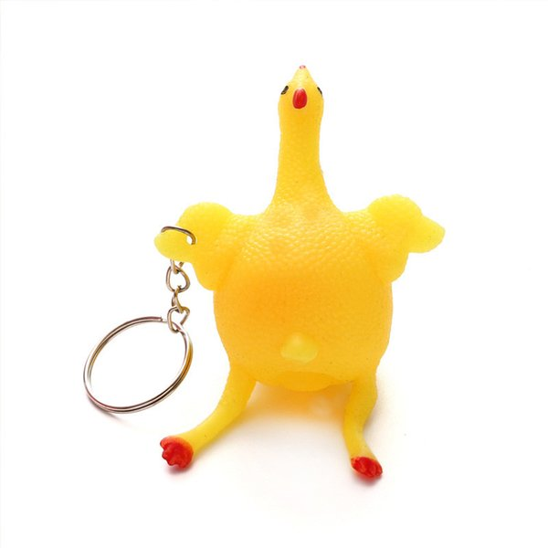 Stress Toys Relief Vent Tricky Toys Squeeze Chicken Laying Egg Key Chain Creative Funny Stress Relief Vent Toys