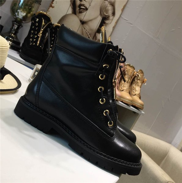 0Balmain39 Woman Buckled Ankle Boots Side Zip Lace-Up Leather Boots Suede Low Heel Round Toe Gold-Tone Hardware Martin Shoes Luxury Brand 41