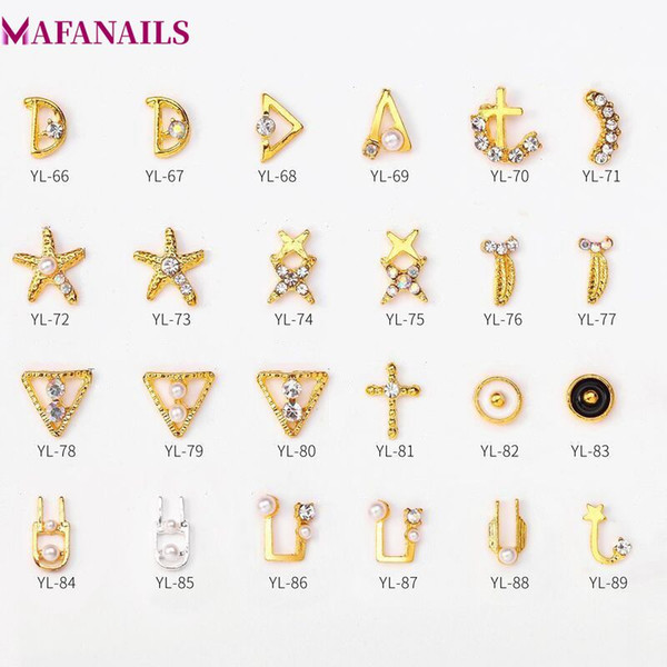 100pcs/Lot Gold Metallic Multi-shaped Studs Frame Alloy Starfish/Triangle/A/D Shape Nail Art Gems Decoration Rhinestone DYL66-89