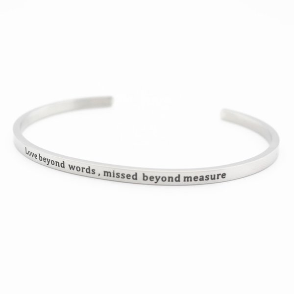 1pcs/lot Stainless Steel Engraved Positive Inspirational Quote Hand Stamped Cuff Mantra Bracelet Bangles For Man Women