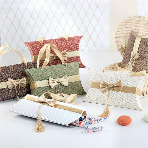 New Wedding Pillow Shape Candy Box with Bowknot Colorful Gift Box Wedding Party Favor Decor Gift Wrap