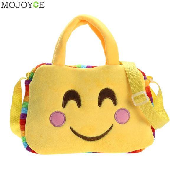 Moda Emoji Face Expression Bag Soft Plush Toy Niños Bolsas lindas Niñas Casual Bolso Mujer Hombro Mensajero Bolsas