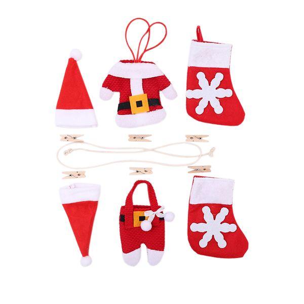 Christmas DIY Banners Xmas Tree Hanging Ornaments Pendant Christmas Fireplace Decoration Stockings Shirts Pant