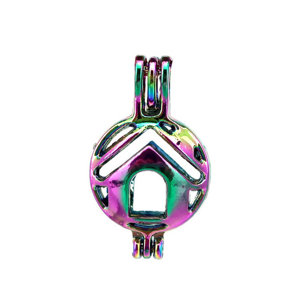 10pcs/lot Rainbow Color Building House Home Beads Cage Locket Pendant Diffuser Aromatherapy Perfume Essential Oils Diffuser Floating Pom