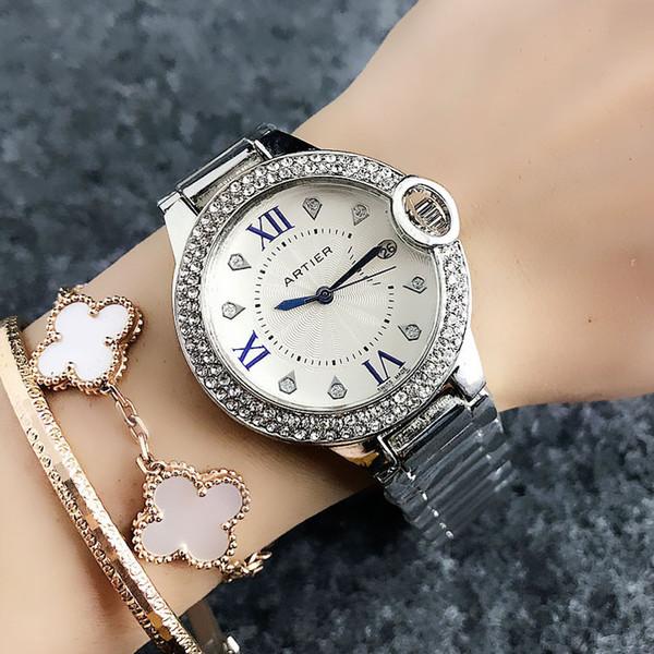 zichen080514 / Fashion Brand women's Girl crystal Roman numerals dial steel band Date Calendar Quartz wrist Watch CA06
