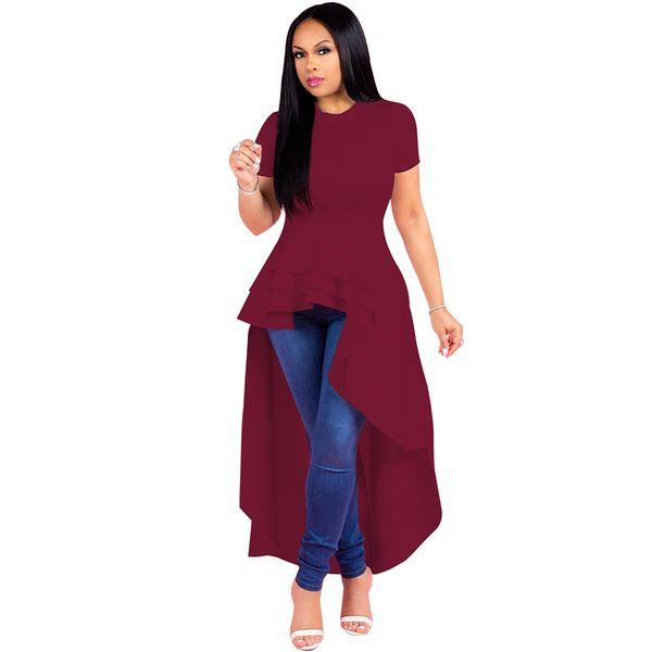 Damenmode großes Abendkleid unregelmäßiger Rüschenrock Saumkleid einfarbig kurzärmliger Smokingrock
