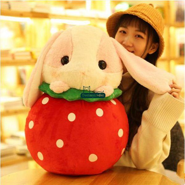 Dorimytrader 2018 cartoon soft fruit bunny plush toy big stuffed anime strawberry watermelon pineapple banana rabbit doll 50cm DY61922