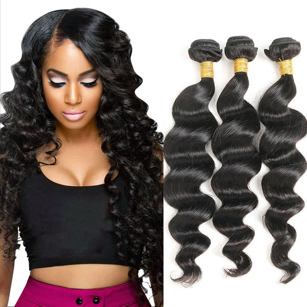 Brazilian Human Hair 3 Bundles Loose Wave 100% Unprocessed Brazilian Virgin Hair Weave Extensions Mixed Length Free Shipping