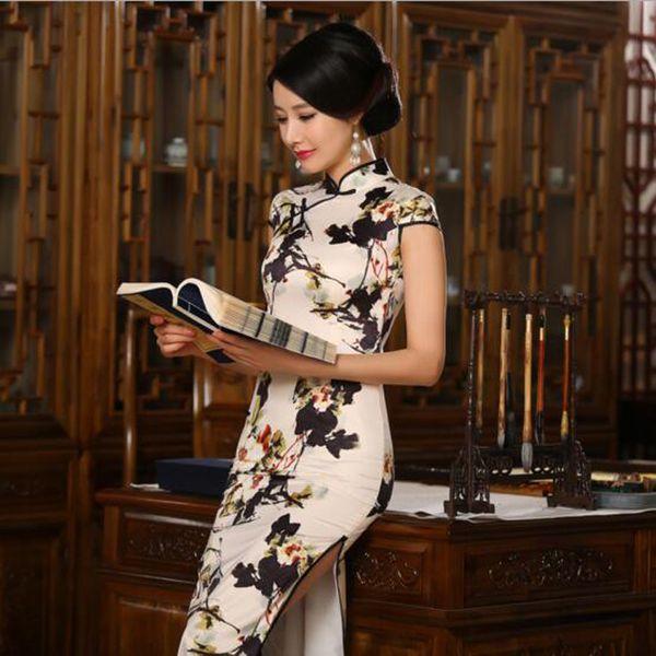 S-3XL Cetim Cheongsam De Seda Das Mulheres Chinesas Longas Qipao China Vestido Oriental Chinês Tradicional Cheongsams Nacional Vento Qipao