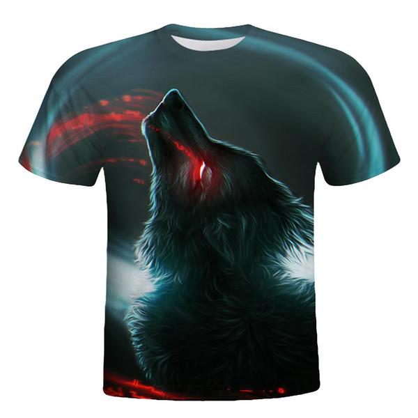 Tshirt Mens Wolf 3D Printing Tees Shirt Short Sleeve T-Shirt Verano Blouse Streetwear Camisetas Tops Wholesale Drop Shipping