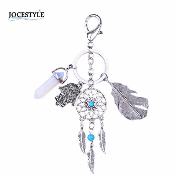Fashion Dreamcatcher Key Chain Keyring Feather Hands chaveiro Trinket Opal Stone llaveros boho jewelry HOT SALE