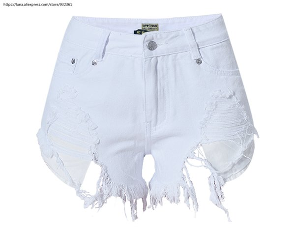 Women hot sale white high waist slim Wide Leg Short Jeans irregular distressed pockets denim Mom jeans 2611