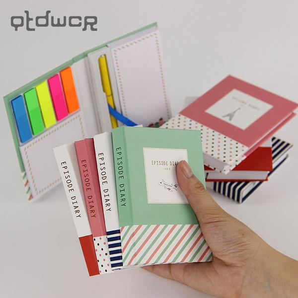 1 PC Coréen Creative Tour Relié Couverture Combiner Memopad Bloc-Notes Papeterie Agenda Journal Ordinateur Portable Fournitures Scolaires Avec Stylo