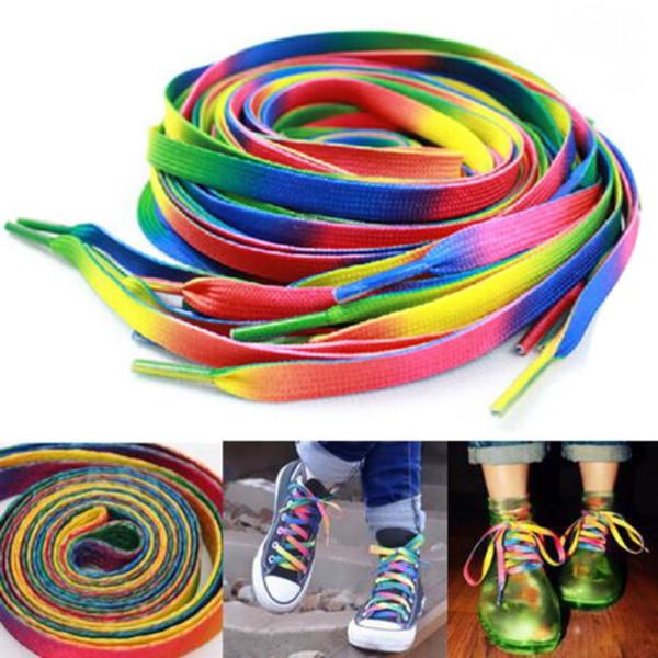 Algodón Cordones de colores Arco iris Impresión degradada Zapatillas de lona planas Zapatos de cordones de color cromático ocasionales Cordones de 5 pares
