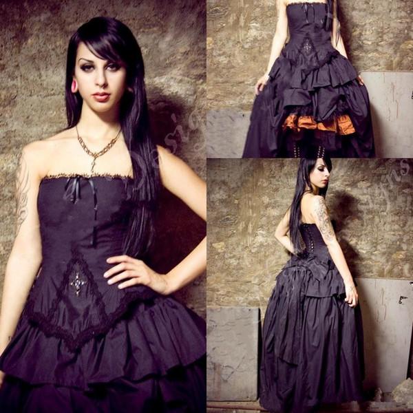 Victorian High how Wedding dresses 2018 Steampunk Gothic Lolita Inspired Vampire Black Custom Wedding Bridal Gowns Plus Size Formal Wear