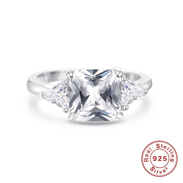 Fine Jewelry Bridal Wedding Rings For Women S925 sterling-silver-jewelry Cubic Zirconia Rectangle Stone Ring Cincin Wanita