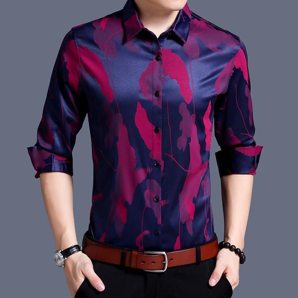 2018 Lapel printing new arrive men fashion jacquard autumn spring long sleeve loose silk cotton shirt businese casual shirt