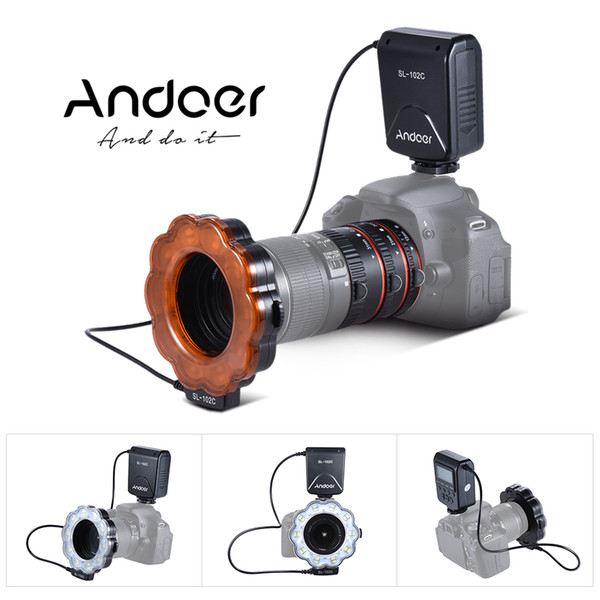 Andoer SL-102C GN15 Macro Photography LED Ring Flash Fill-in Light + Macro Extension Tube RingL AF Auto Focus for