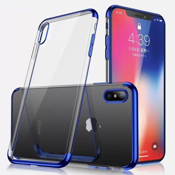 For Iphone X case, Clear Soft TPU, Ultra-thin Transparent Flexible Premium Eletroplated Frame Cover for iphone 6 7 8