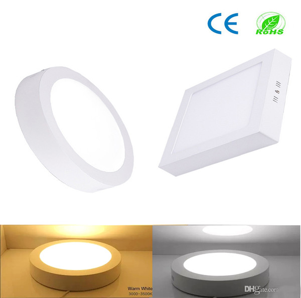 CE Dimmable Led Panel Light 9W 15W 21W Round / Square Surface Mounted Led Downlight lighting Led ceiling lights spotlight 110-240V + Drivers