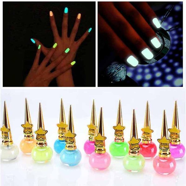 14ML Fashion Nail Polish Non-toxic 12 colors Fluorescent Neon Luminous Gel Nail Polish for Glow in Dark for Women Children