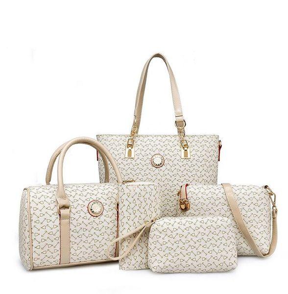 HOT Super leather women-messenger-bags ladies brand designs Casual totes+ Handbag+Messenger Bag+Purse+Clutch 5 PCS composite bag