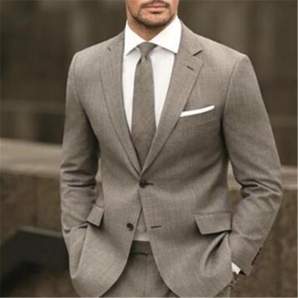 Hellbraun Männer Anzüge für die Hochzeit 2Pieces (Jacke + Tie + Pant) Kostüm Homme Smoking Anzug Herren Trajes De Hombre Blazer