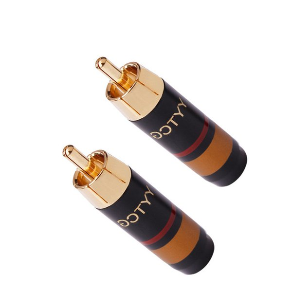 1 Pair New Pure Copper Gold-Plated RCA Lotus Plug RCA Audio and Video Signal HiFi Audio Connector 7mm for Power Amplifier, Mixer Connection
