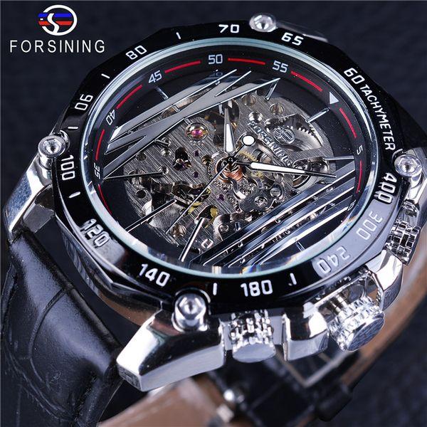 Forsining mecánico steampunk reloj de pulsera militar de los hombres reloj de plata transparente esqueleto reloj creativo reloj automático