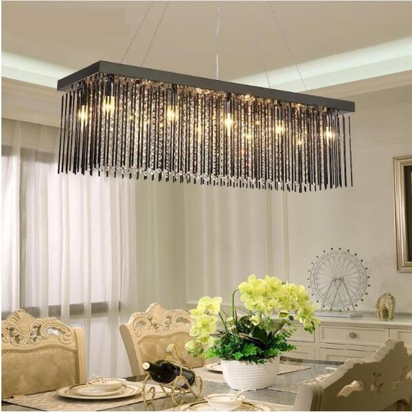 SVITZ Black glass Restaurant Chandelier Crystal Lamp Rectangular Dining room hanging Lamp Led Chandelier Modern lighting lustre Lamp