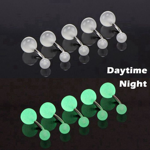 10pcs/lot Luminous Acrylic Belly Button Rings Sexy Woman Belly Piercing Barbell 14G Surgical Steel Navel Piercing Body Jewelry