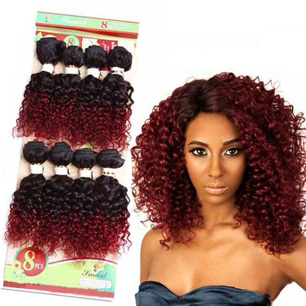 8 pulgadas Ombre Borgoña Rubio Tejido sintético Paquetes de cabello rizado Cosa en Extensiones de cabello 8 pcs / Paquete Cabello raro