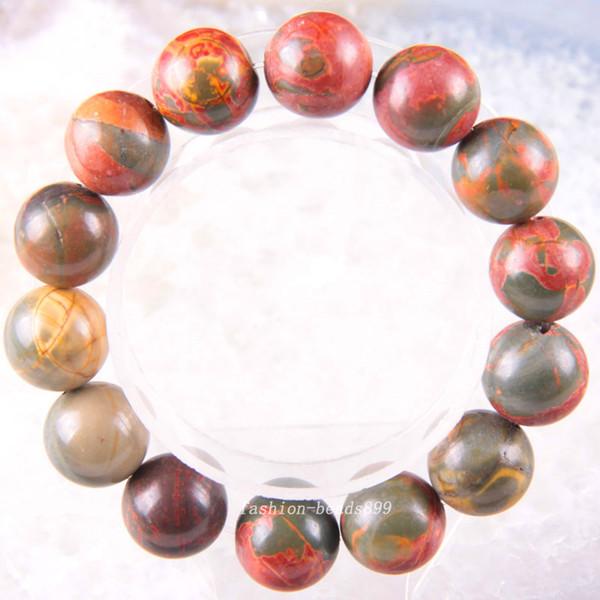 Livraison gratuite extensible 14mm Perles rondes en pierre naturelle rouge Picasso Bracelet 8inches 1pcs H1852