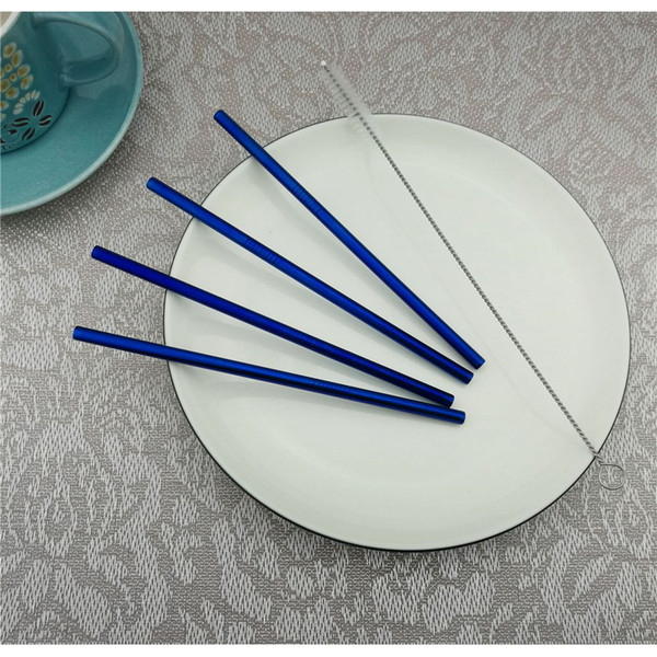 New Size 12Pcs/Lot Colorful Stainless Steel Drinking Straws 1Brush Reusable Straight Bent Filter Straw Metal Drink Party Bar Accessorie 16cm
