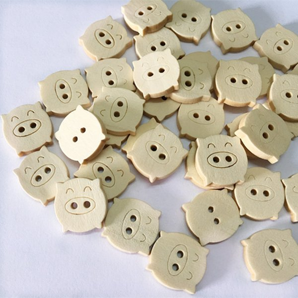 100pcs/lot Mixed Cute Pig Wooden decorative Buttons For Sewing Scrapbooking Wood Craft free shipping