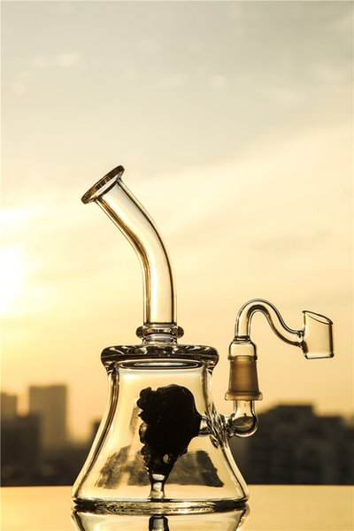 New Glass Bongs Hot Sale Curved Neck Smoking Bongs Black Heady Bubbler Dab Rig Clear Cheap Smoking Pipe in 14mm joint Glass Pipes