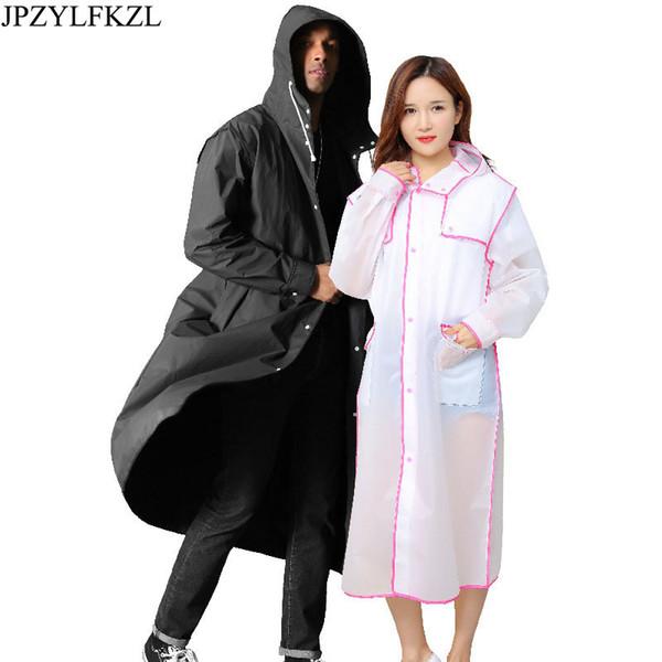 Fashion Men and Women Transparent long Raincoat EVA Thick Rainwear Coat Waterproof Poncho Hiking Tour Hooded Raincoat