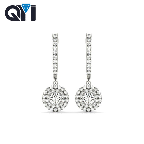 QYI 925 Sterling Silver Luxury Drop Ear Women Halo Drop Earring 1 Ct Round Cut White Gold Color Earring Fashionable jewelry