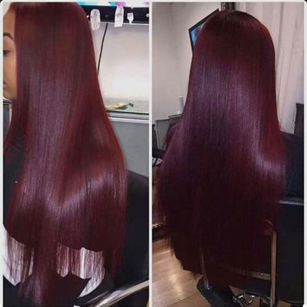 1pcs Long Straight Cosplay Wine Red Synthetic Lace Front Wig Heat Resistant None Lace Hair Full Wig with
