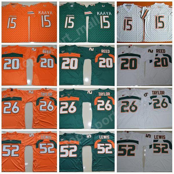 Uomini College Football Miami Hurricanes Maglie Ricamo 15 Brad Kaaya 20 Ed Reed 52 Ray Lewis 26 Sean Taylor Verde Arancione Bianco Top Quality