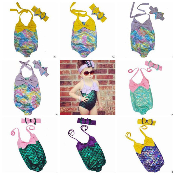top popular Mermaid Girl Swimsuit Kids Mermaid Tail Bikini Baby Fish Scale Swimwear Bow Headwear Cartoon Headband Bathing Suits Kids Swim Clothes B3925 2021