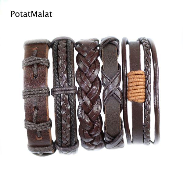 FL29- Brown pulseras cuero bracelets bangles (5pcs/lot) charms ethnichandmade genuine braided wrap rope hemp mens leather bracelet for gift
